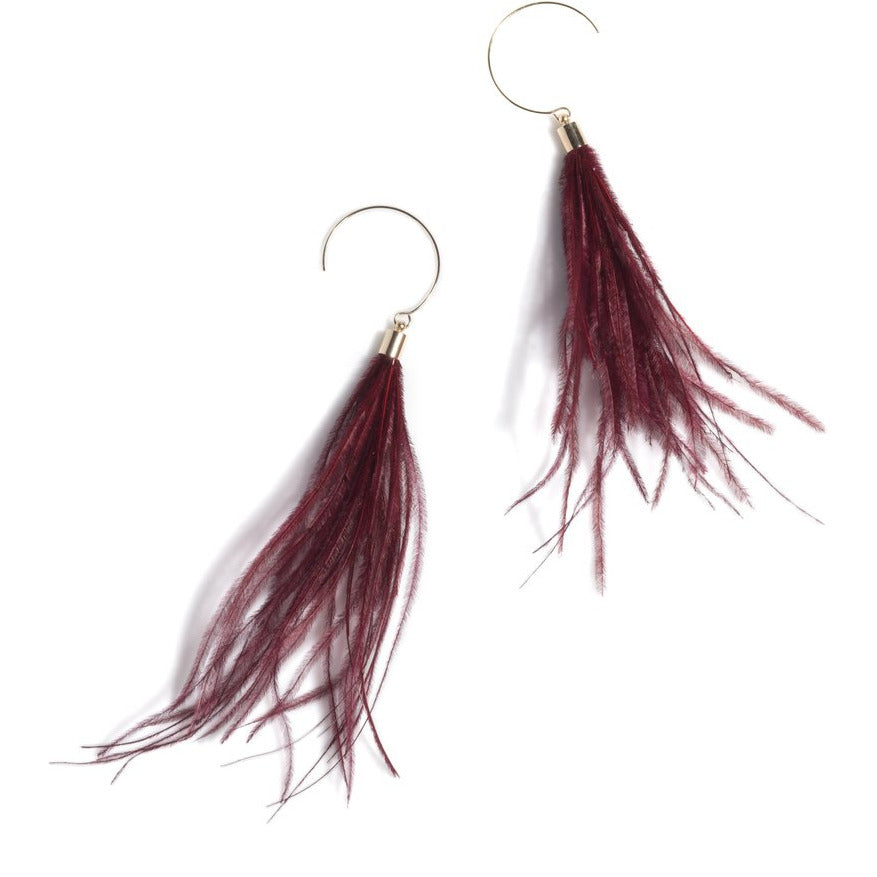 Vivi Feather Earrings Burgundy