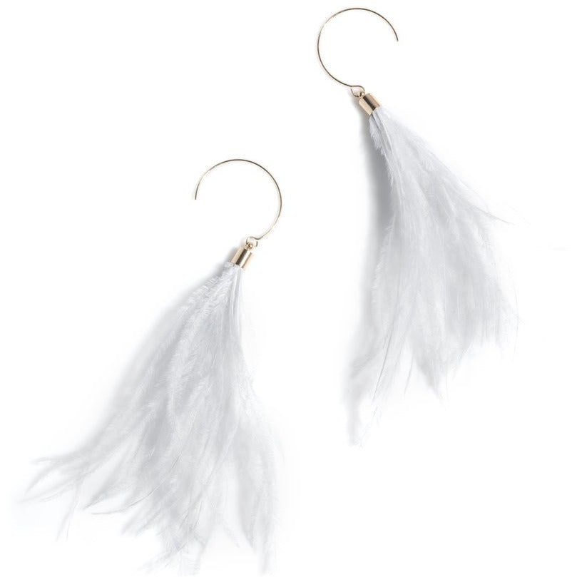 Load image into Gallery viewer, Vivi Feather Earrings Grey