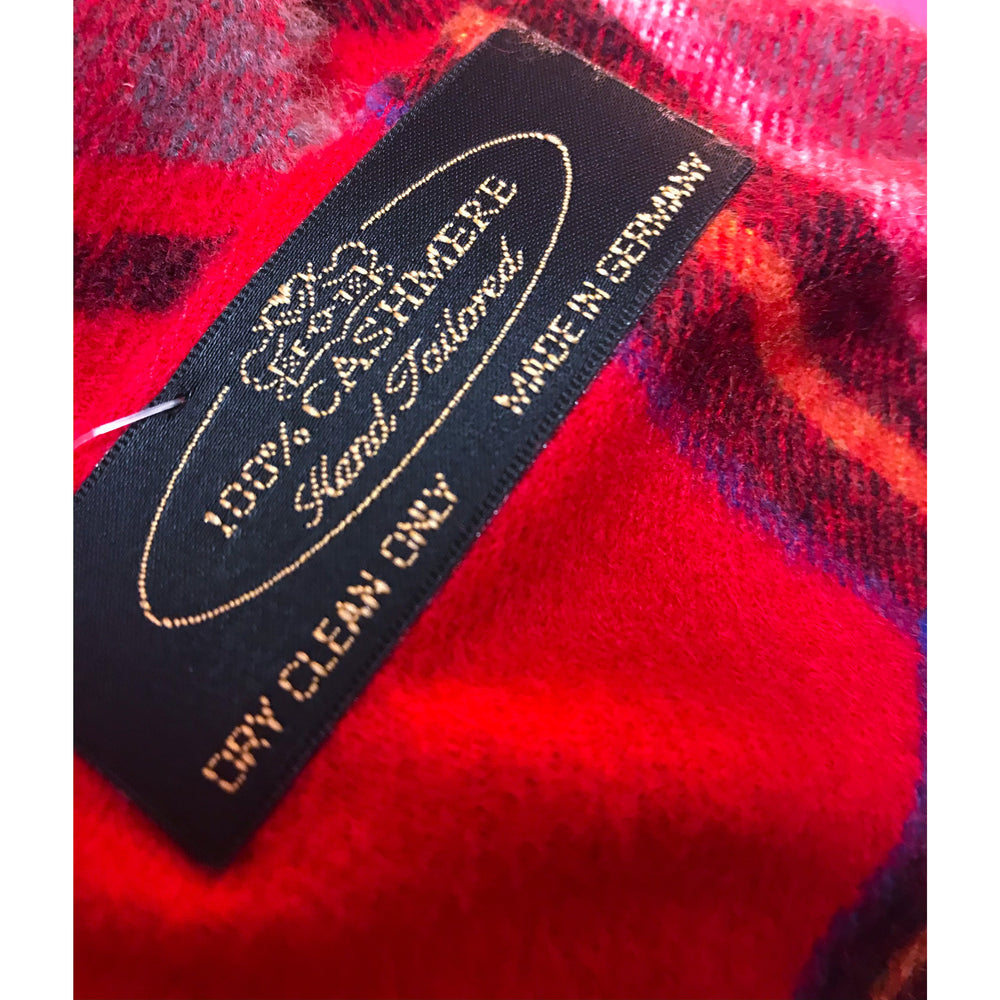 Seattle Silver Red and Navy Buffalo Check Cashmere Scarf