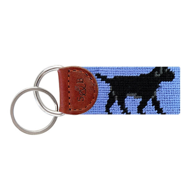 Load image into Gallery viewer, Smathers & Branson Black Lab Needlepoint Key Fob (Blue)