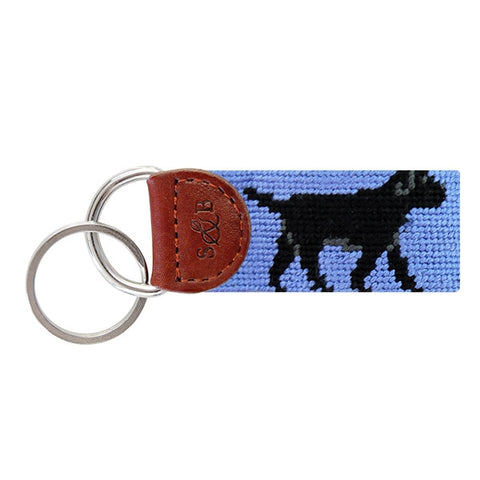 Smathers & Branson Black Lab Needlepoint Key Fob (Blue)