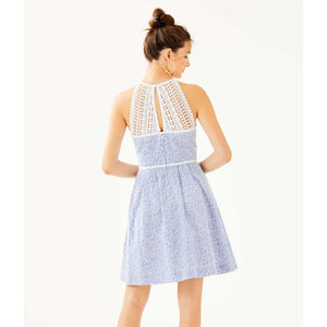 Load image into Gallery viewer, Lilly Pulitzer Tori Dress Crew Blue Tint Yarn Dye Stripe Floral Eyelet