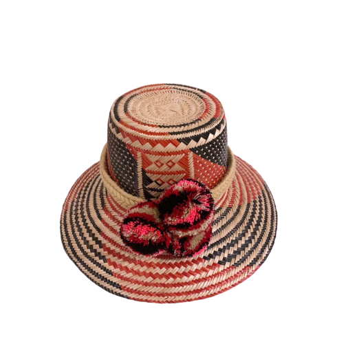 Hello Dobson Palm Beach Hat (Red/Black) with Poms