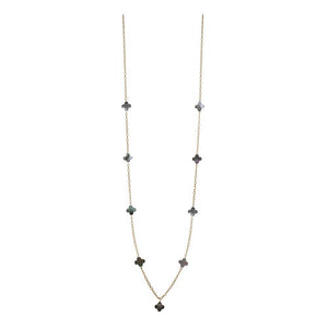 Long Clover Necklace Black/Gold