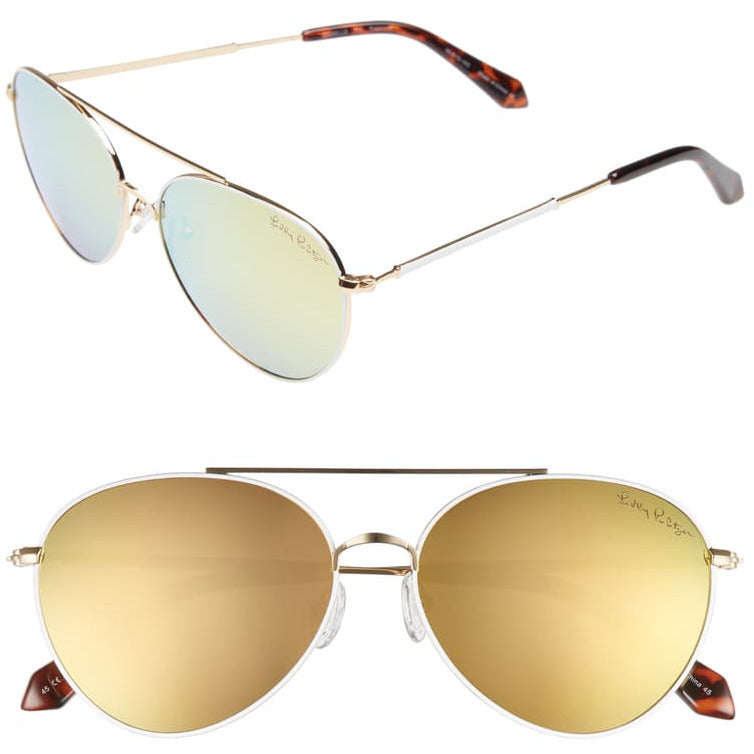 Lilly Pulitzer Isabelle Gold/Gold Mirror Sunglasses