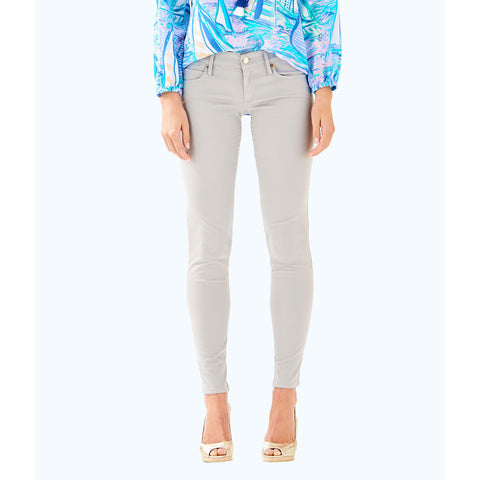 "Lilly Pulitzer 31"" Worth Skinny Jean Sateen Palm Beach Grey"