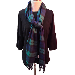 Seattle Silver Classic Blackwatch Plaid Cashmere Scarf