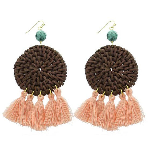 Rattan Statement Earring Brown/Peach