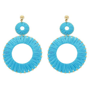 Load image into Gallery viewer, Raffia Hoop Earrings Turquoise