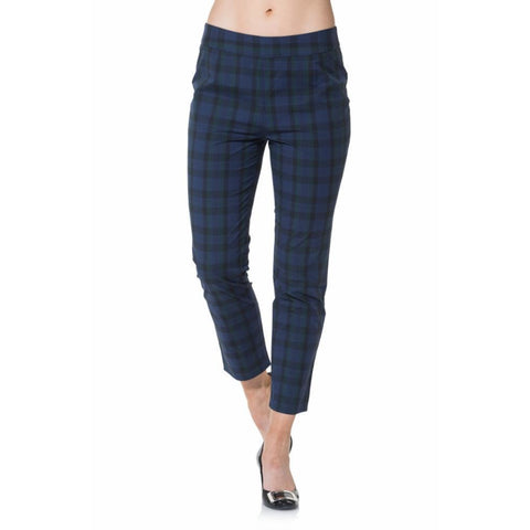 Sail To Sable Cotton Plaid Pant Navy Plaid