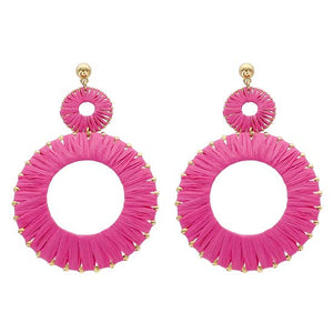 Load image into Gallery viewer, Raffia Hoop Earrings Hot Pink