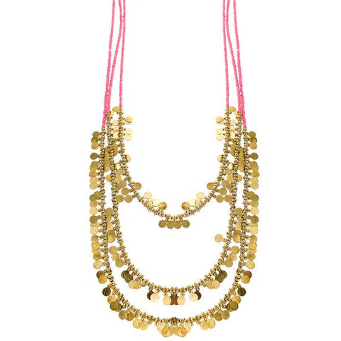 Moroccan Layered Necklace Gold/Pink