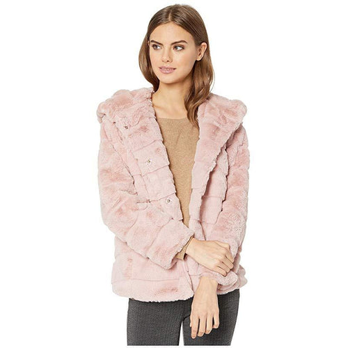 Apparis Goldie 3 Hooded Faux Fur Coat Blush