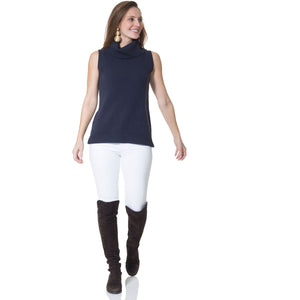 Load image into Gallery viewer, Sail To Sable Cotton Sleeveless Turtleneck Sweater Navy