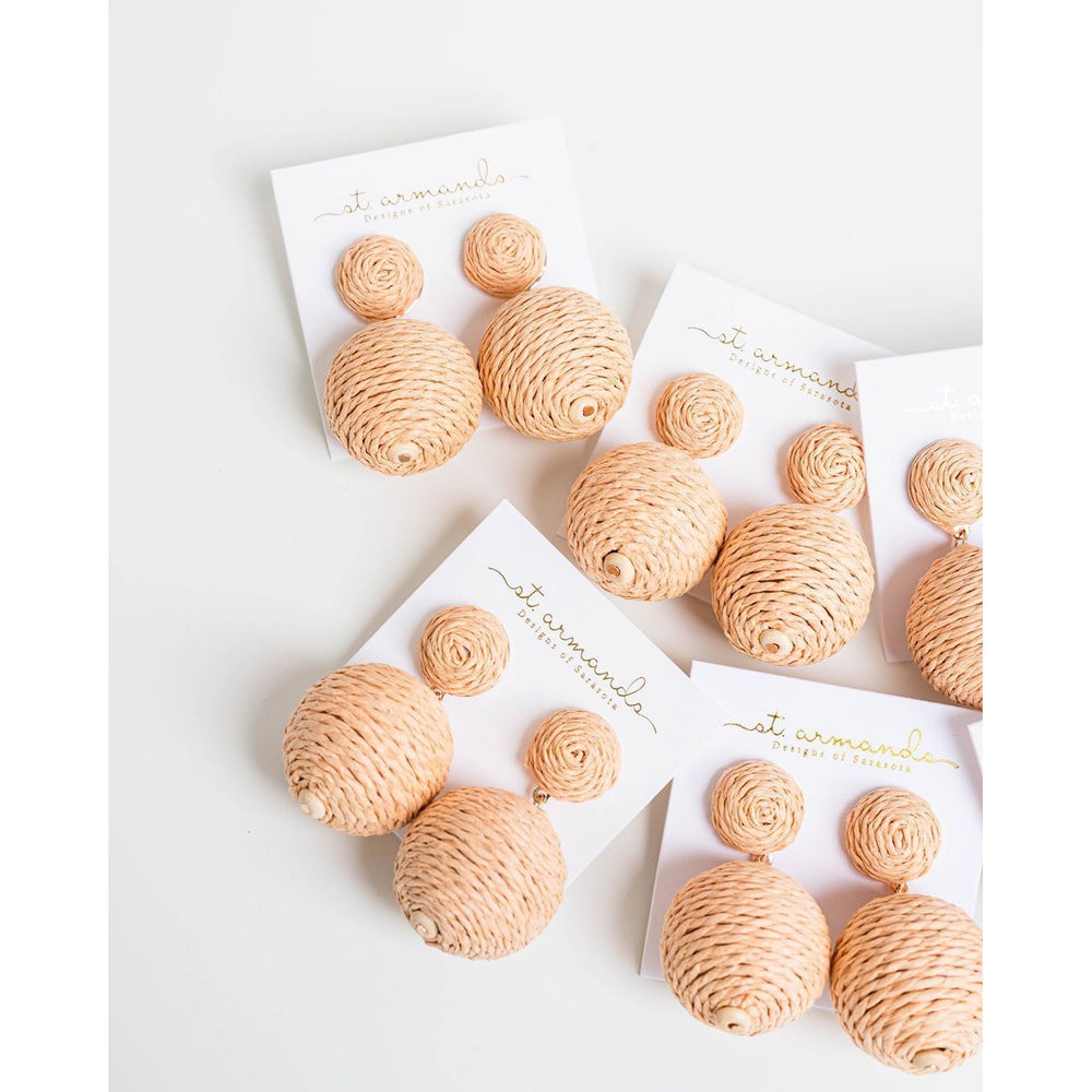 St. Armands Natural Lido Pom Pom Earrings