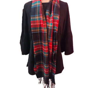 Seattle Silver Classic Black Tartan Plaid Cashmere Scarf
