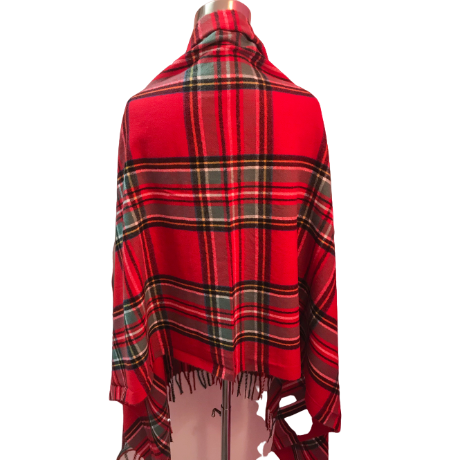 Load image into Gallery viewer, Seattle Silver Red Tartan Plaid Cashmere Shawl