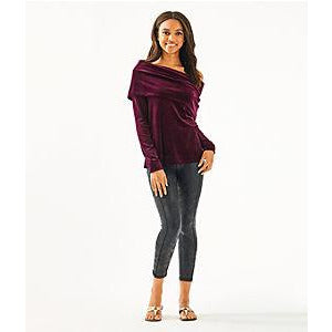 Lilly Pulitzer Belinda One-Shoulder Velour Pullover Cabernet Berry
