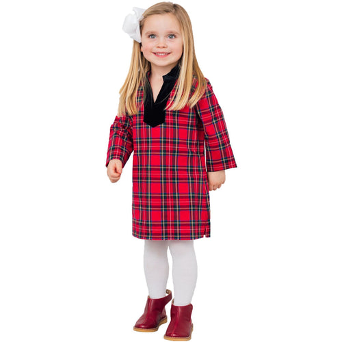 Sail To Sable Kids Plaid Tunic Dress Red Plaid Multi