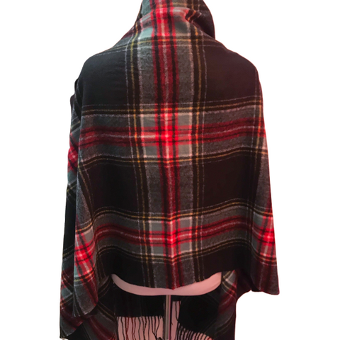 Seattle Silver Black Tartan Plaid Cashmere Shawl