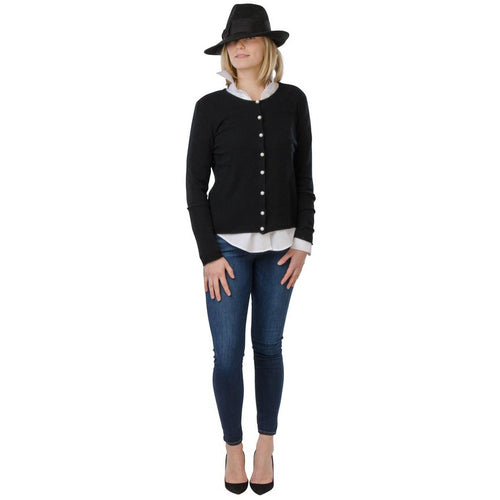 Cortland Park Pearl Button Cardigan Black