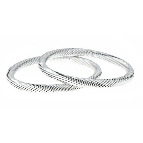 Finn Cable Bangle Set Silver