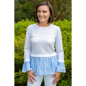 Haley And The Hound Peplum Sweater - White Blue Gingham