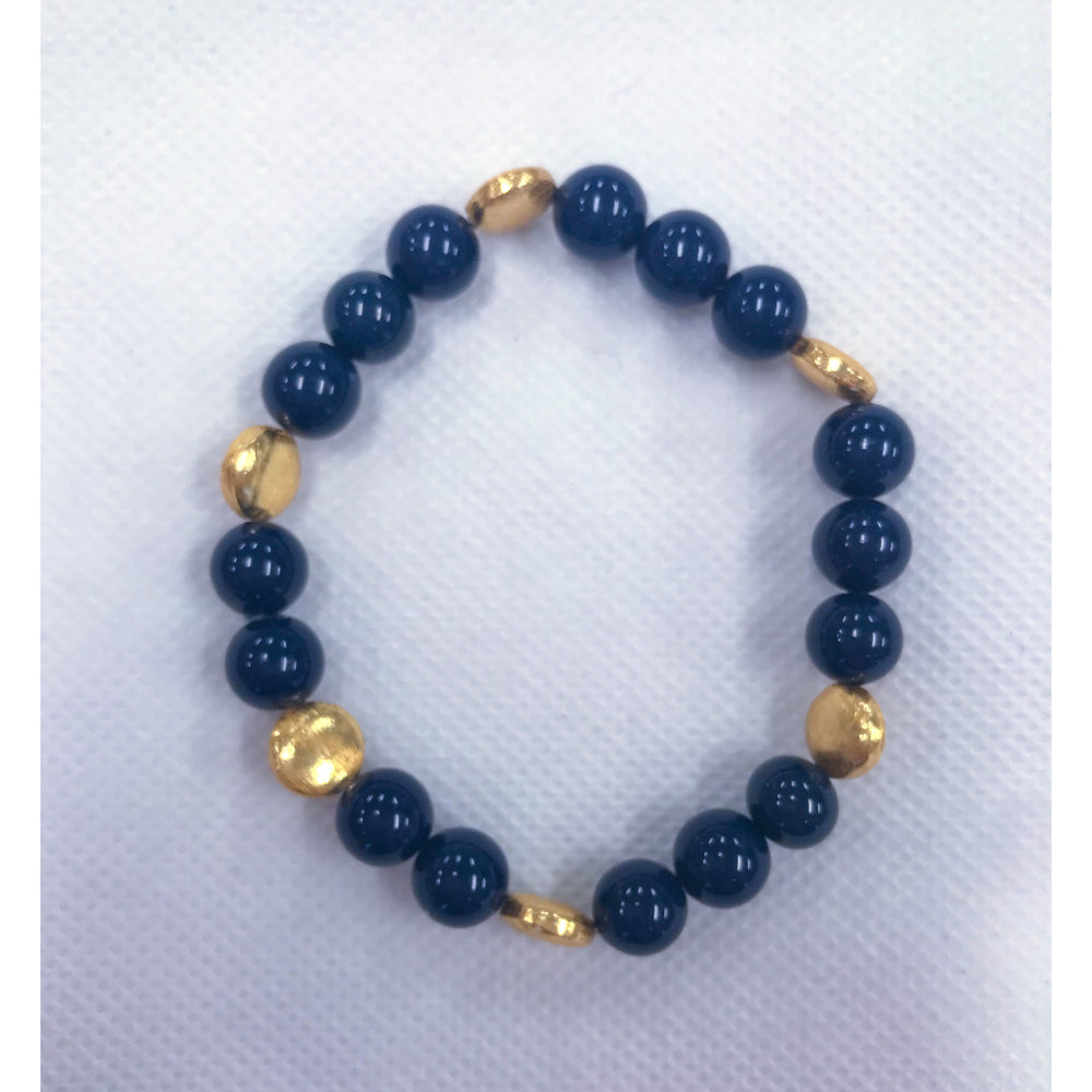 KEP Navy and Gold Stretch Bracelet