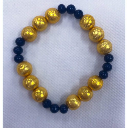KEP Large Gold Plated with Navy Stretch Bracelet