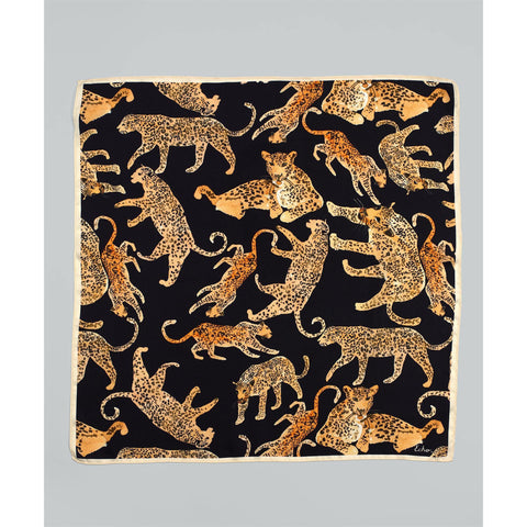 Echo Prowling Ocelot Silk Square Black