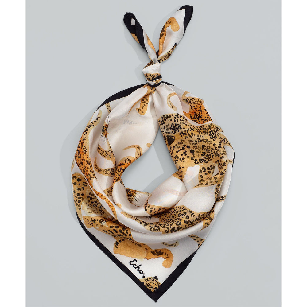 Load image into Gallery viewer, Echo Prowling Ocelot Silk Square White