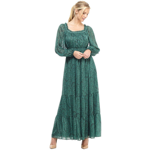 Gal Meets Glam Laurel Metallic Paisley Printed Tiered Maxi Dress Emerald
