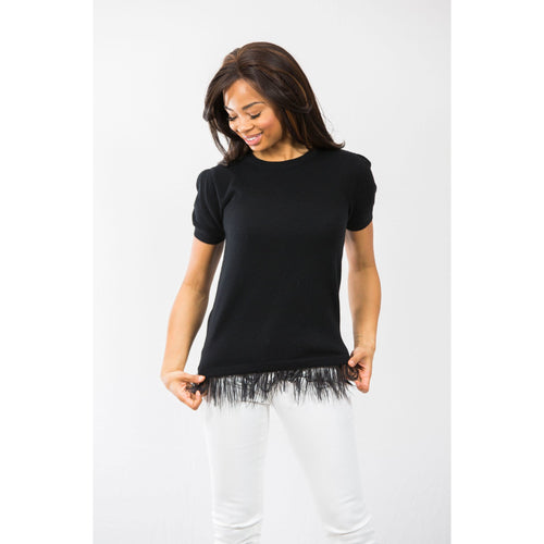 Two Bees Cashmere Feather Tee Black/Black Feather Trim