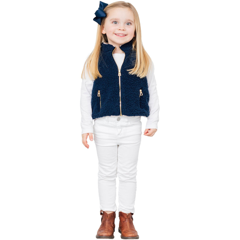 Load image into Gallery viewer, Sail To Sable Kids Sherpa Vest True Navy