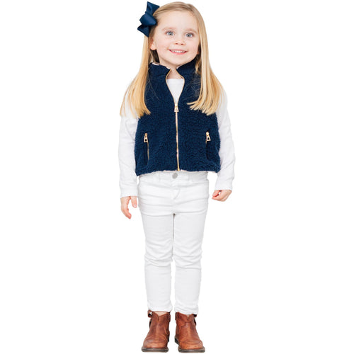 Sail To Sable Kids Sherpa Vest True Navy