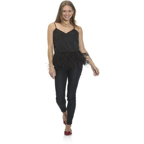 Sail To Sable Taffeta Feather Trim Tank Top Black