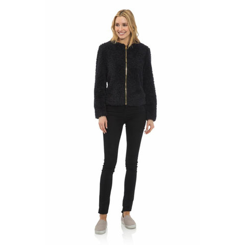 Sail To Sable Faux Fur Short Jacket Black