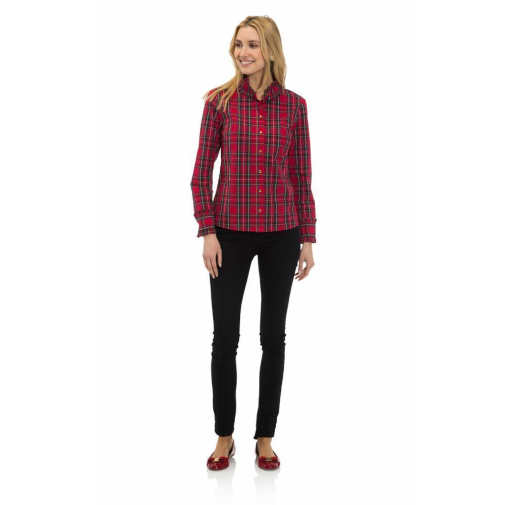 Sail To Sable Ruffle Trim Button Front Top Red Plaid
