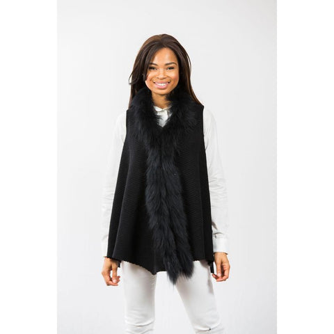 Two Bees Cashmere Hope Faux Fur Trim Vest Black/Black Fur