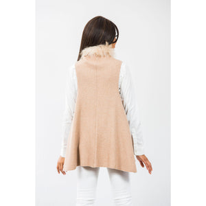 Two Bees Cashmere Hope Faux Fur Trim Vest Tan/Tan Fur