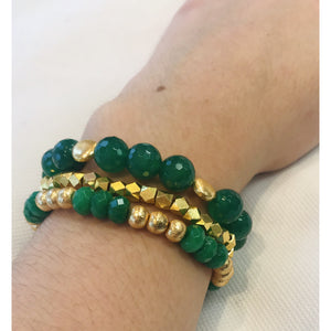 KEP Large Faceted Jade Stretch Bracelet with Gold Plated Beads