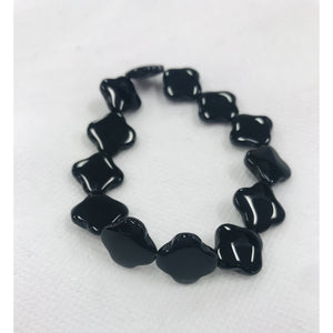 Load image into Gallery viewer, KEP Glossy Black Clover Stretch Bracelet
