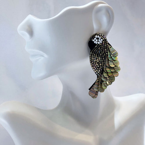 Sugar Beaded Parrot Earrings Gold