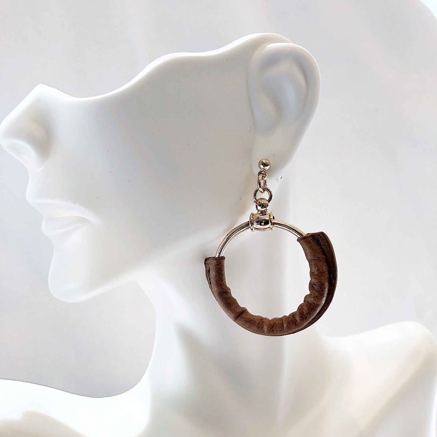Gold Leather Ring Hoop Earring