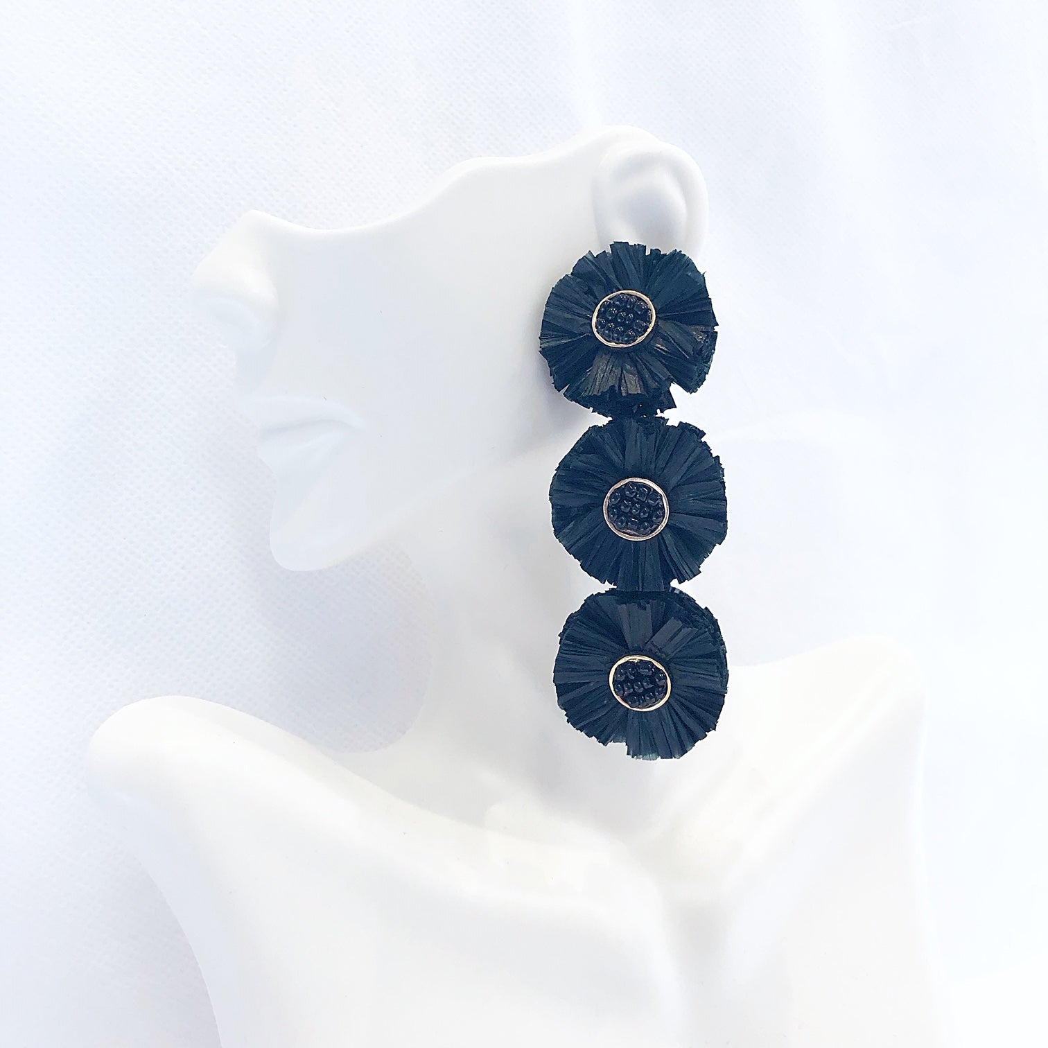 Triple Raffia Earrings Black