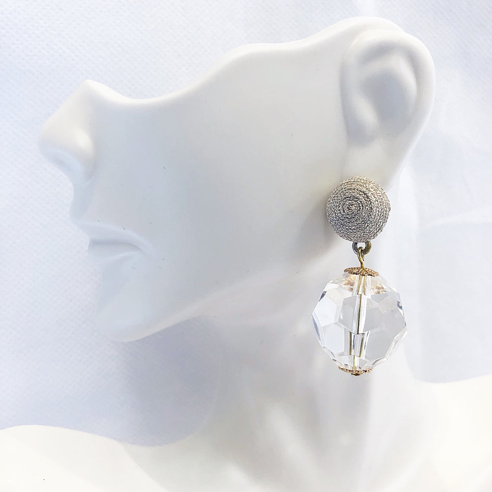 Tobi Pom/Crystal Earrings Clear/Silver