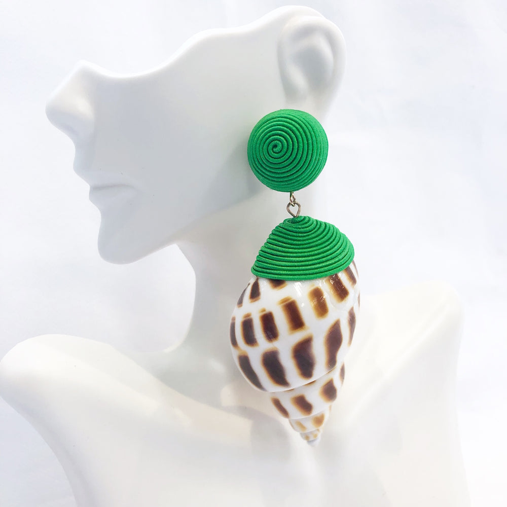 Green Cord Wrapped Sea Shell Earring