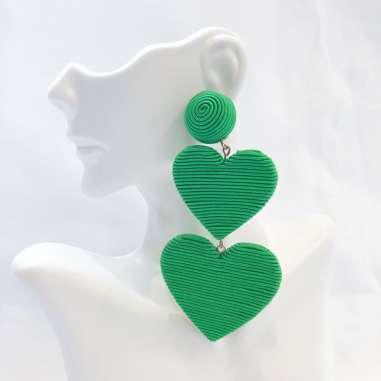 Cora 2 Drop Heart Earrings
