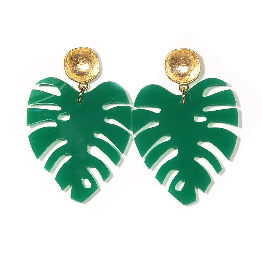 Load image into Gallery viewer, Sugar Palm Leaf Stud Earring Medium Size