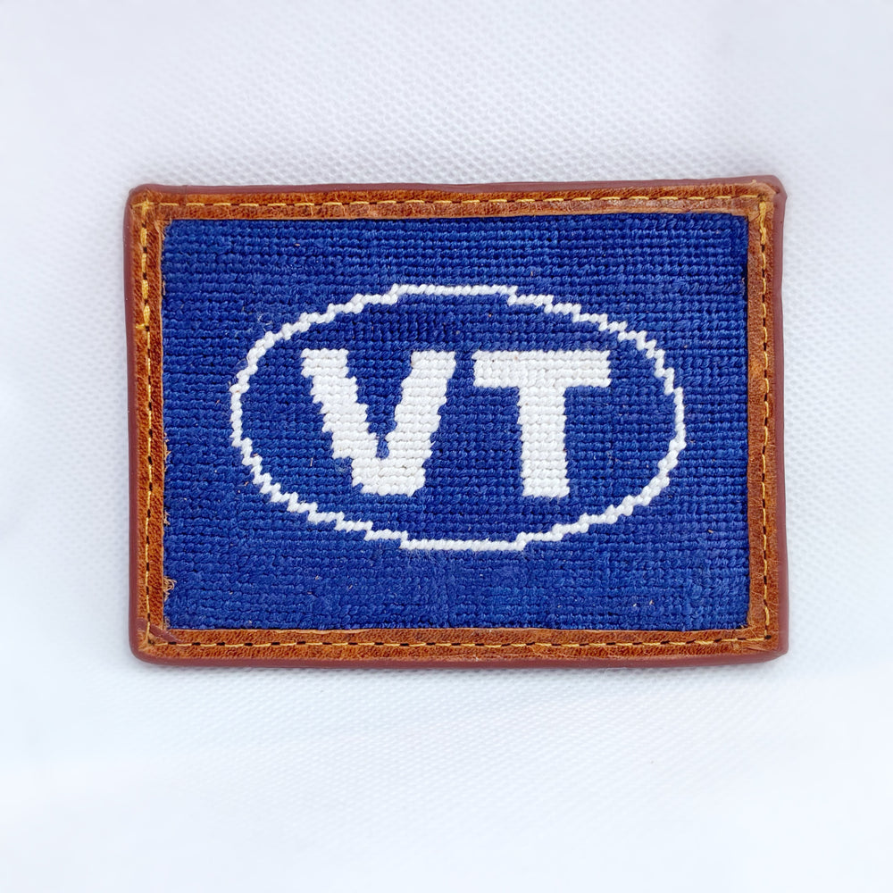 Load image into Gallery viewer, Smathers & Branson VT Needlepoint Card Wallet (Classic Navy - White Logo)